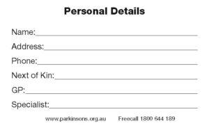 """""""I have Parkinson's"""" Medical Alert Card"""